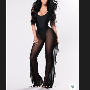 SUNSHINE SEE THROUGH COVER UP PANT - BLACK